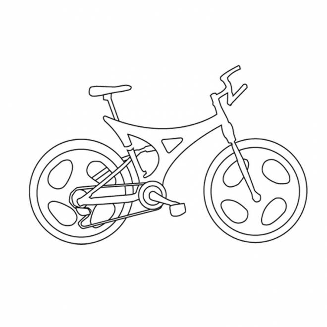 Free coloring and drawings easy bicycle in style Coloring page