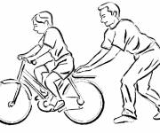 Coloring pages Father Teaches Child Biking