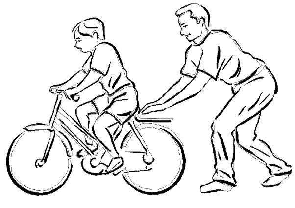 Free coloring and drawings Father Teaches Child Biking Coloring page