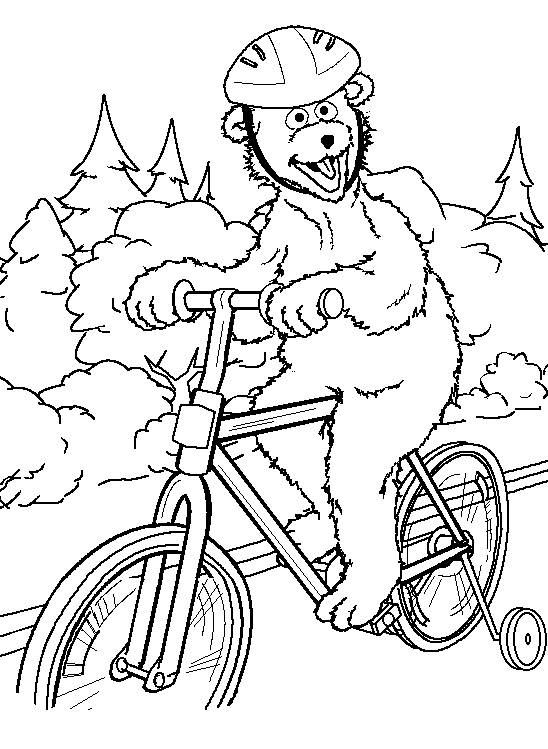 Free coloring and drawings Funny bear on his bike Coloring page