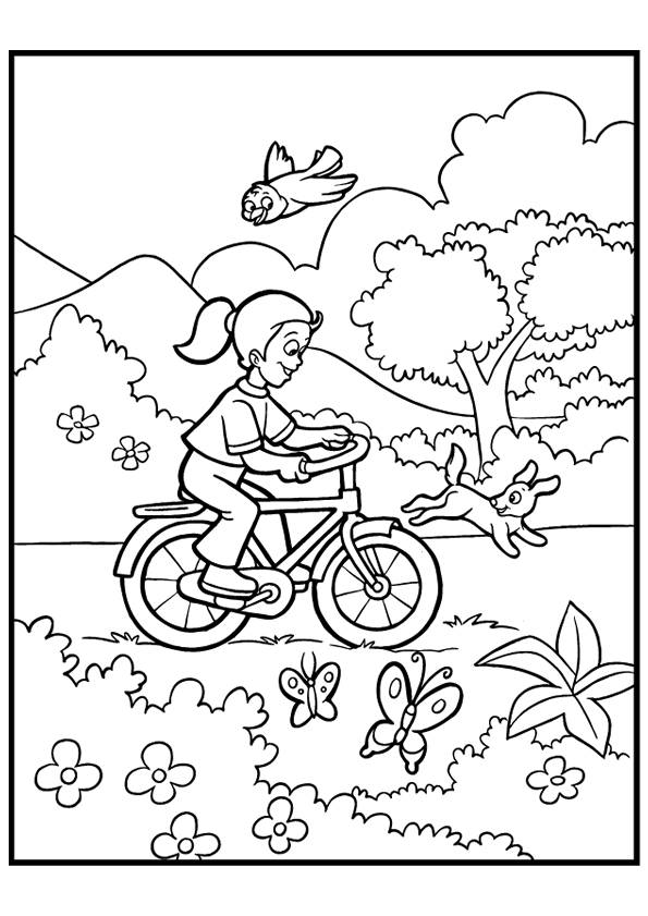 Free coloring and drawings Girl has fun on her bike in nature Coloring page