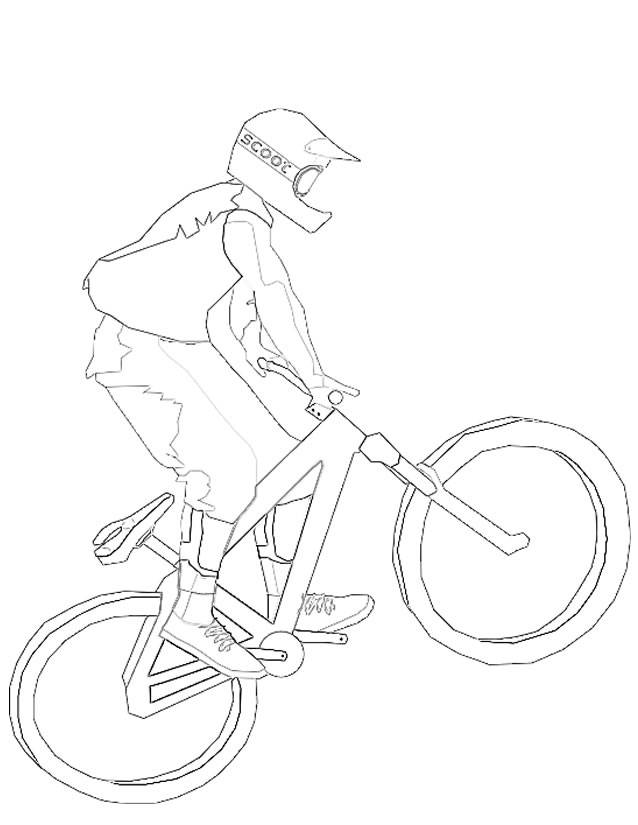 Free coloring and drawings Mountain biking and extreme sport Coloring page