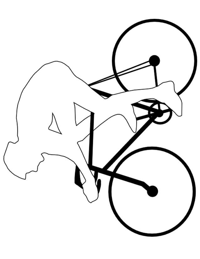 Free coloring and drawings Professional bicycle and cyclist Coloring page