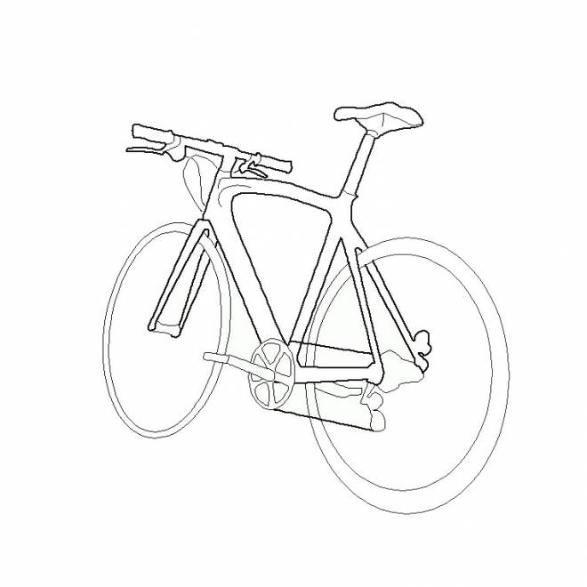 Free coloring and drawings Stylized bike Coloring page