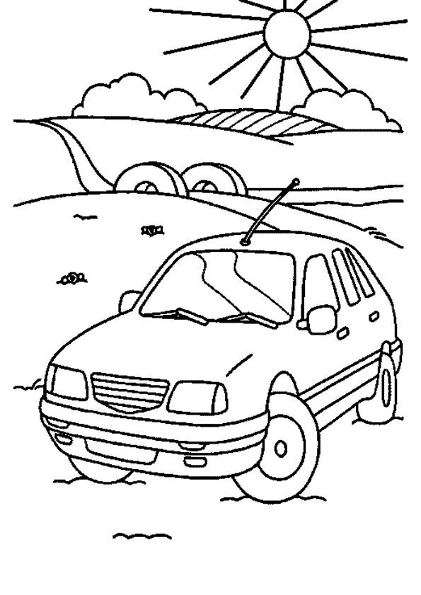 Free coloring and drawings A Car in the countryside Coloring page
