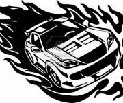 Free coloring and drawings Ferrari in Flame Coloring page