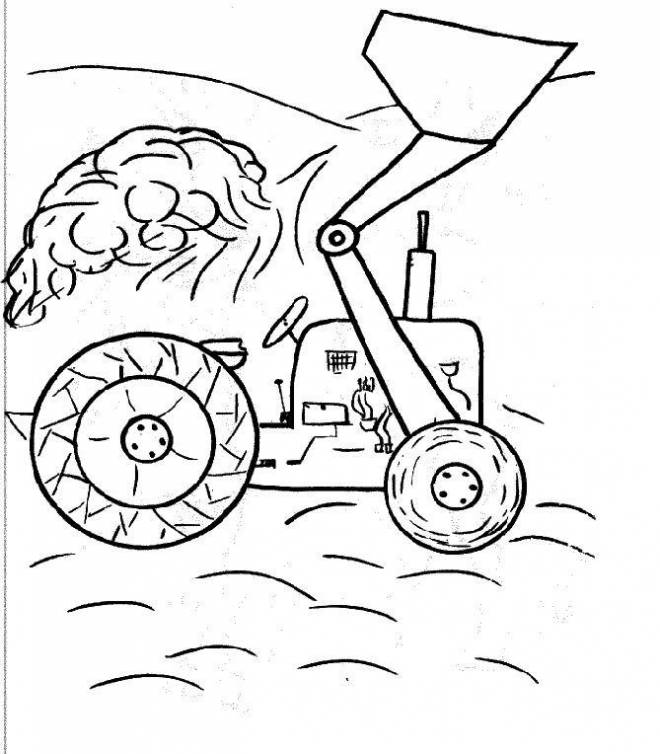 Free coloring and drawings A simple backhoe loader Coloring page