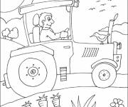 Coloring pages Agricultural tractor in the fields