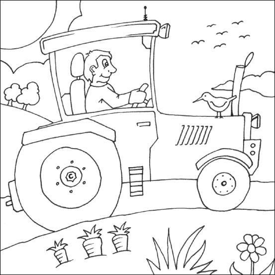Free coloring and drawings Agricultural tractor in the fields Coloring page