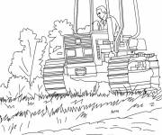 Free coloring and drawings Agriculture Harvester drilling Coloring page