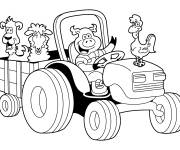 Coloring pages Animals on the Tractor