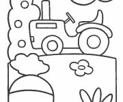 Free coloring and drawings Easy tractor Coloring page