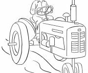 Coloring pages Farmer Driving the Tractor