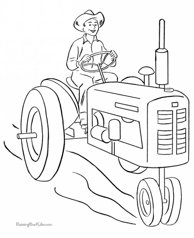 Free coloring and drawings Farmer Driving the Tractor Coloring page