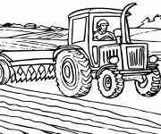 Coloring pages Forage Harvester in the Field