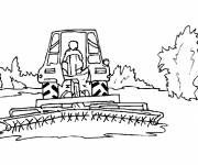 Coloring pages Harvester in the field