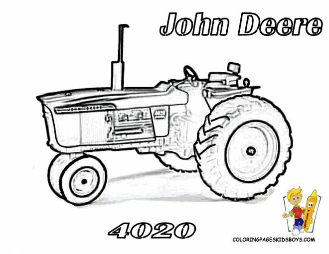 Free coloring and drawings John Deere tractor for adults Coloring page