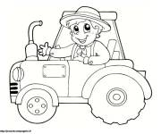 Free coloring and drawings Little Child on Tractor Coloring page