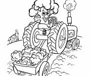 Coloring pages Magic tractor on the fields