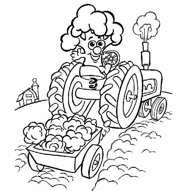 Free coloring and drawings Magic tractor on the fields Coloring page