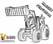 Free coloring and drawings Massey Ferguson backhoe loader Coloring page