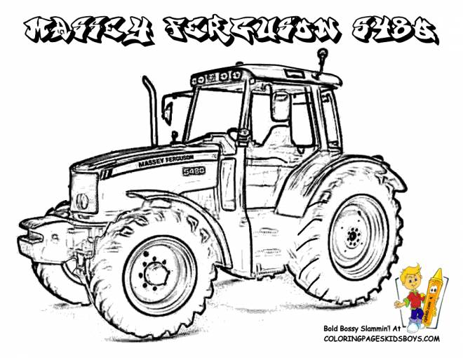 Free coloring and drawings Massey Ferguson tractor Coloring page
