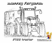 Coloring pages Massey Ferguson Trailer Tractor