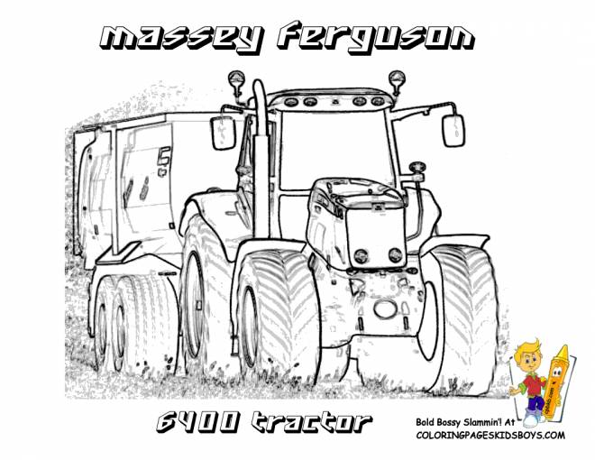 Free coloring and drawings Massey Ferguson Trailer Tractor Coloring page