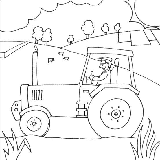 Printable The farmer and his tractor free sheets coloring page