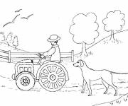 Coloring pages The little tractor in nature
