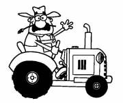 Coloring pages The tractor driver greets you