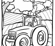 Coloring pages Tractor and Countryside