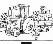 Coloring pages Tractor and farm animals