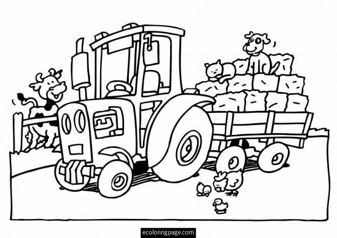 Free coloring and drawings Tractor and farm animals Coloring page