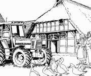 Free coloring and drawings Tractor in the farm Coloring page