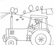 Coloring pages Tractor in the vast countryside