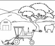 Coloring pages Tractor landscape in the farm