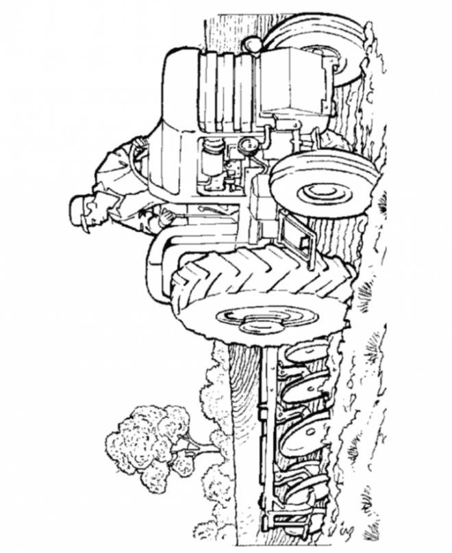 Free coloring and drawings Tractor plows the earth Coloring page