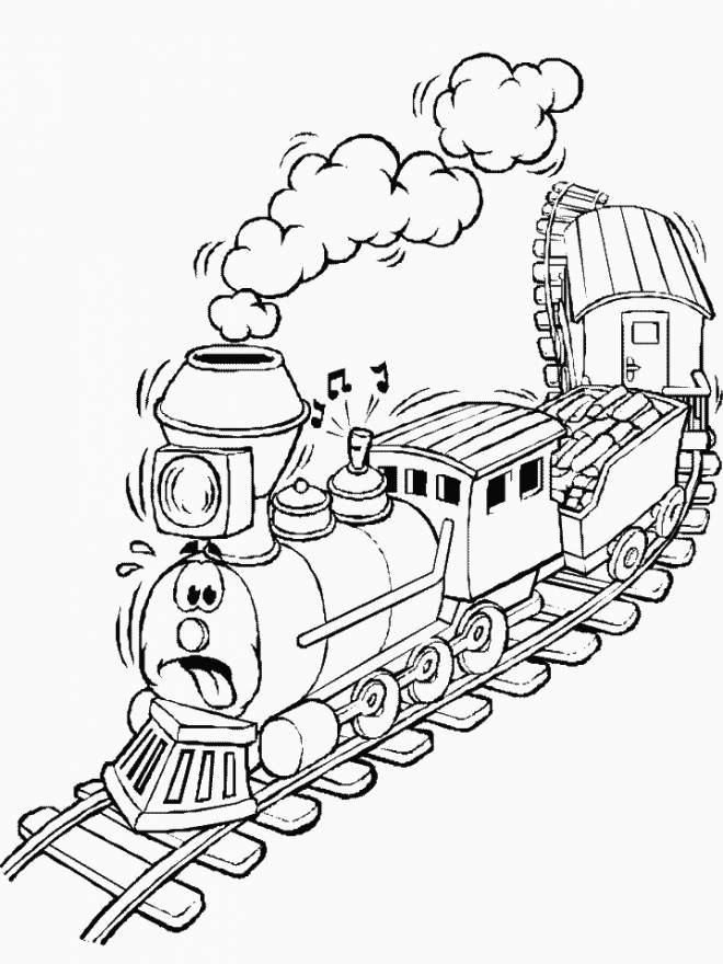 Free coloring and drawings A humorous train Coloring page