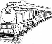 Free coloring and drawings A train on rail Coloring page