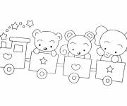 Coloring pages Animals in Train Cars