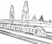 Coloring pages Duplex TGV train on the road
