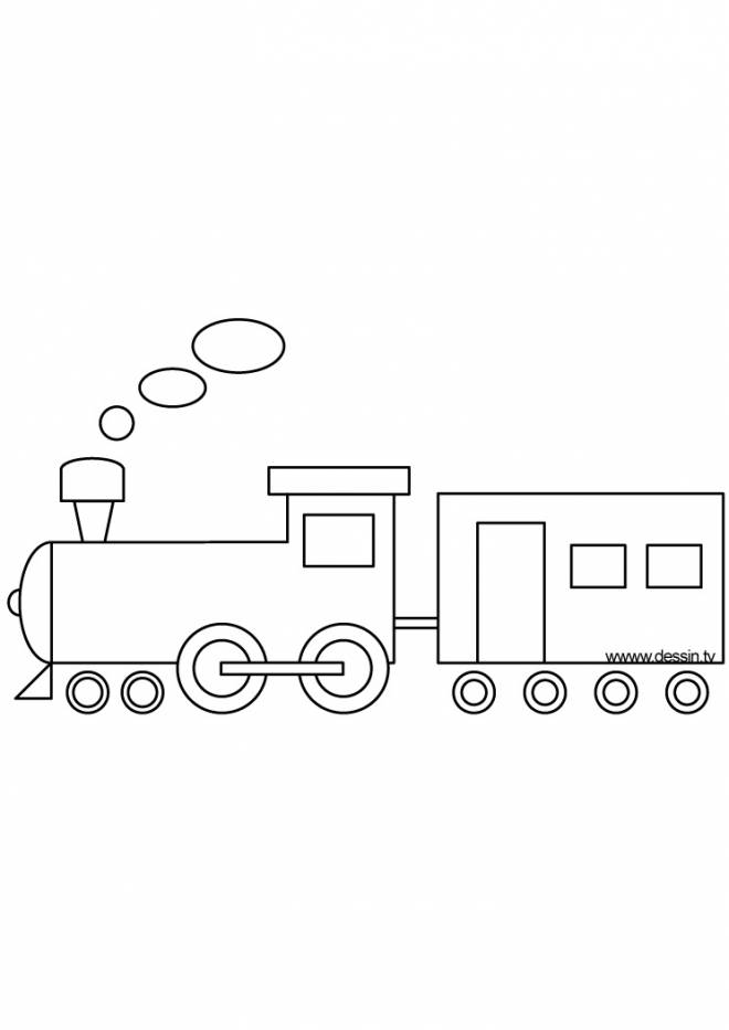 Free coloring and drawings Easy to draw train Coloring page