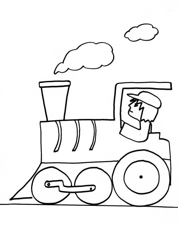 Free coloring and drawings Easy Train Driver Coloring page