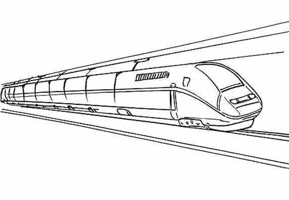 Free coloring and drawings Fast duplex train Coloring page