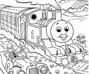 Coloring pages Happy train in nature