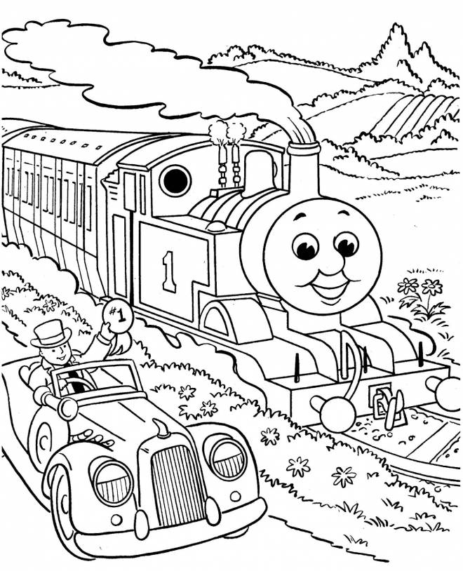 Free coloring and drawings Happy train in nature Coloring page