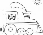 Coloring pages Little boy in a Locomotive