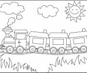 Coloring pages Locomotive with Wagons in the wild