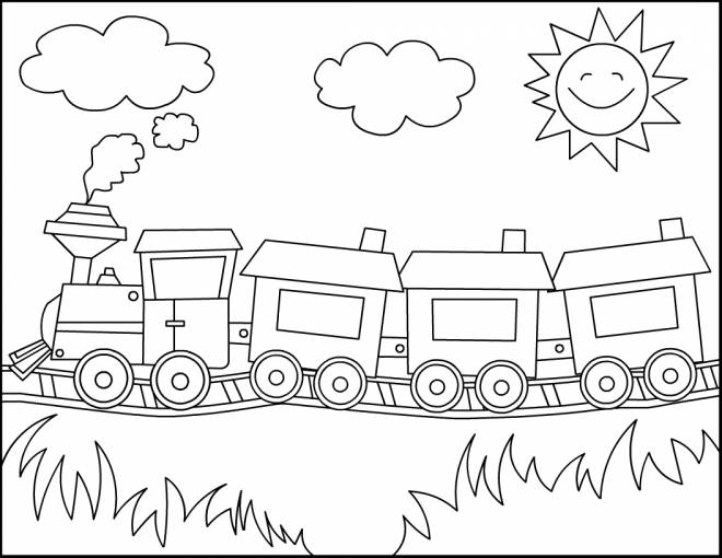 Free coloring and drawings Locomotive with Wagons in the wild Coloring page
